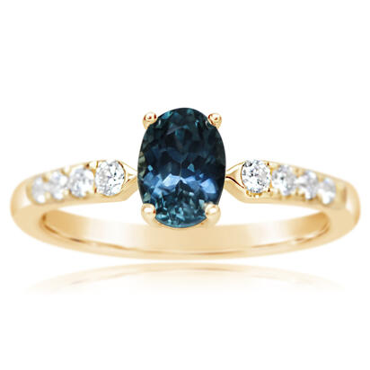 14K Yellow Gold Montana Sapphire/Diamond Ring | RCC221MS2CI