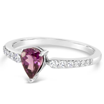 14K White Gold Purple Garnet/Diamond Ring | RCC222GP2WI