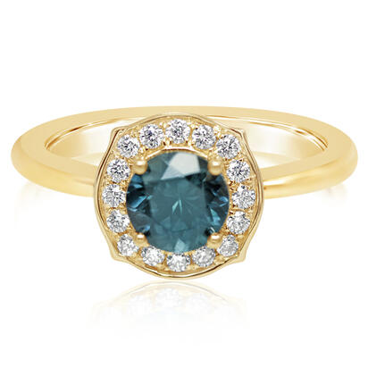 14K Yellow Gold Montana Sapphire/Diamond Ring | RCC223MS2CI