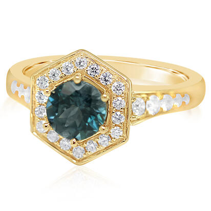 14K Yellow Gold Montana Sapphire/Diamond Ring | RCC224MS2CI