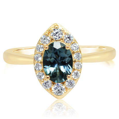 14K Yellow Gold Montana Sapphire/Diamond Ring | RCC225MS2CI