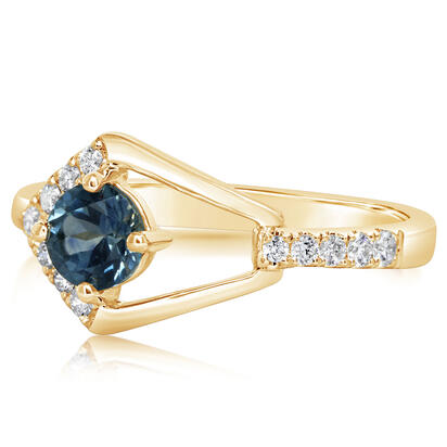 14K Yellow Gold Montana Sapphire/Diamond Ring | RCC228MS2CI