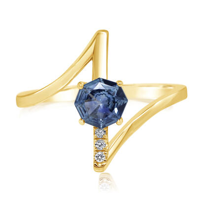 14K Yellow Gold 5.5 mm Octagon Montana Sapphire/Diamond Ring | RCC249MS2C