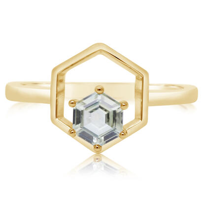 14K Yellow Gold 5mm Hexagon Montana Sapphire Ring | RCC250MSXC