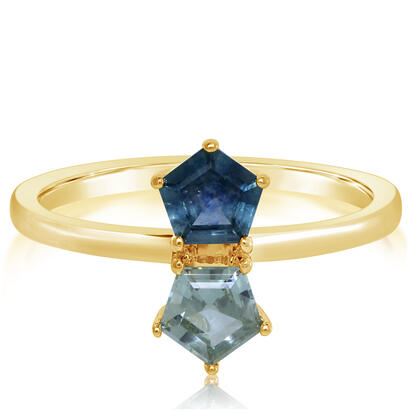 14K Yellow Gold 5mm Pentagon Montana Sapphire Ring | RCC253MSXC