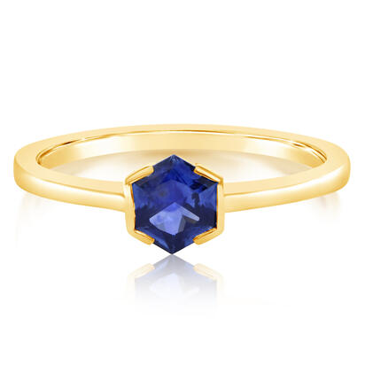 14K Yellow Gold 5mm Hexagon Montana Sapphire Pendant Ring | RCC254MSXC
