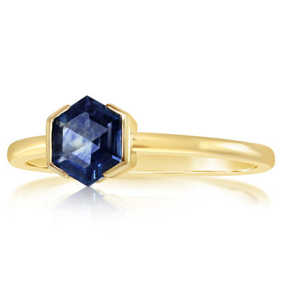 14K Yellow Gold 5.5mm Hexagon Montana Sapphire Ring | RCC255MSXC