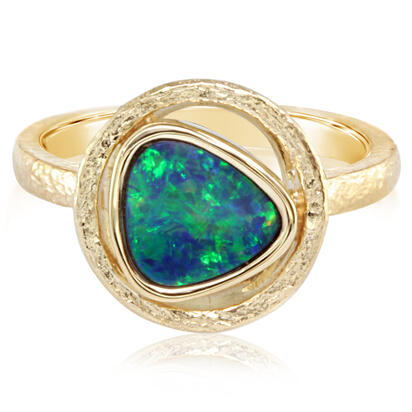 14K Yellow Gold Australian Opal Doublet Ring | RCF0133AXCI