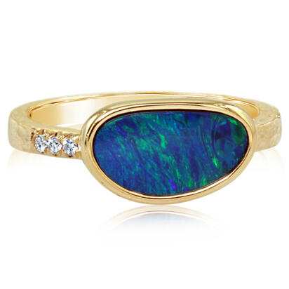 14K Yellow Gold Australian Opal Doublet/Diamond Ring | RCF0163A2CI