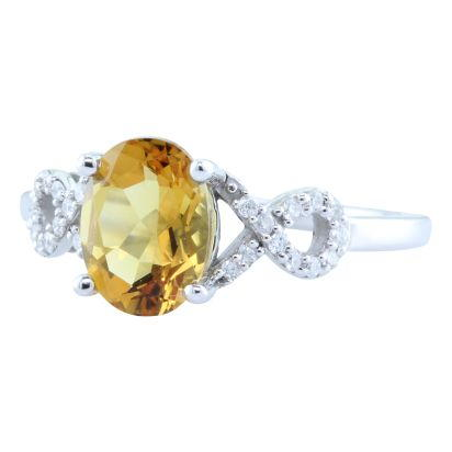 14K White Gold Citrine/Diamond Ring | RCO006C23W