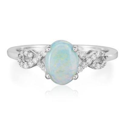 14K White Gold Australian Opal/Diamond Ring | RCO006N13W