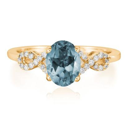 14K Yellow Gold Aquamarine/Diamond Ring | RCO006Q23C