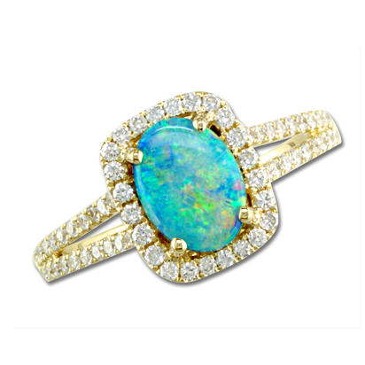 14K Yellow Gold Australian Opal/Diamond Ring | RCO011N01CI