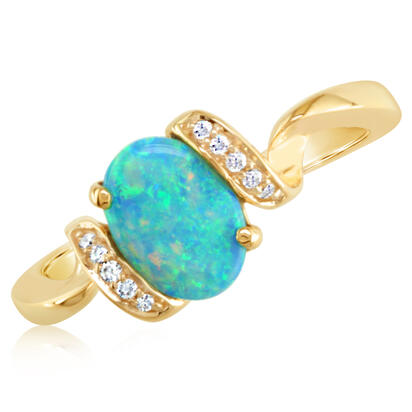 14K Yellow Gold Australian Opal/Diamond Ring | RCO012N01CI