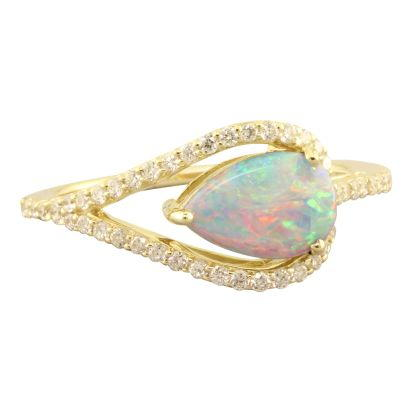 14K Yellow Gold Australian Opal/Diamond Ring