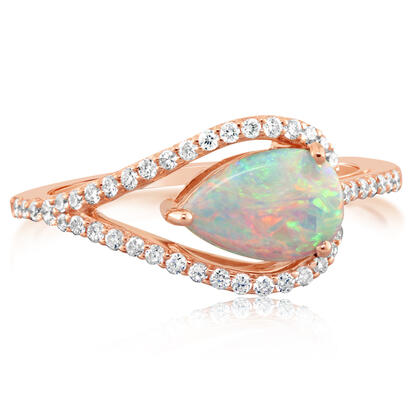 14K Yellow Gold Australian Opal/Diamond Ring | RCO023N11CI