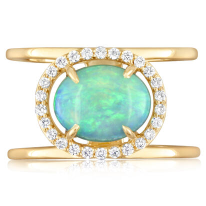 14K Yellow Gold Australian Opal/Diamond Ring | RCO025N01CI
