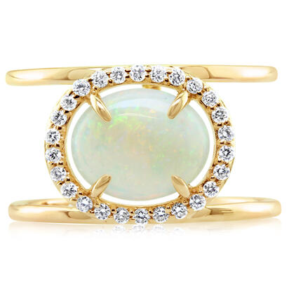 14K Yellow Gold Australian Opal/Diamond Ring | RCO025N11CI
