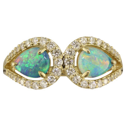 14K Yellow Gold Australian Opal/Diamond Ring | RCO031N02CI
