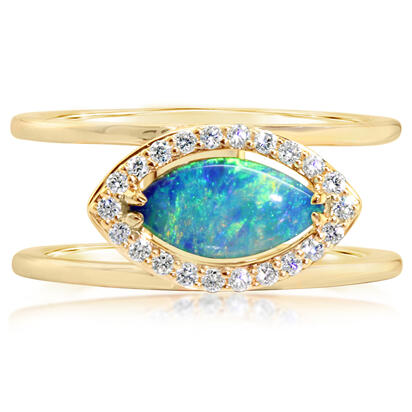 14K Yellow Gold Australian Opal/Diamond Ring | RCO038N01CI