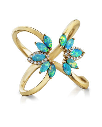14K Yellow Gold Australian Opal/Diamond Ring | RCO045N01C