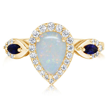 14K Yellow Gold Australian Opal/Sapphire/Diamond Ring N' | RCO047N11CI