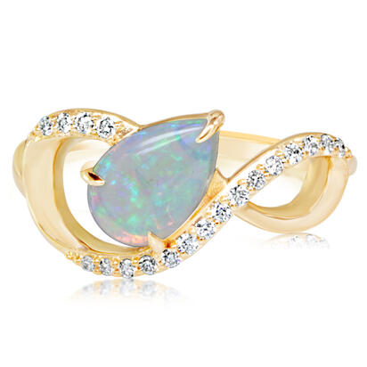 14K Yellow Gold Australian Opal/Diamond Ring | RCO048N12CI