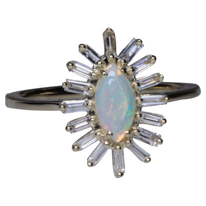 14K Yellow Gold Australian Opal/Diamond Ring | RCO049N12CI