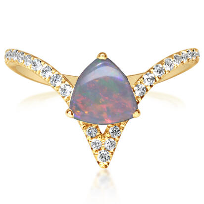 14K Yellow Gold Australian Opal/Diamond Ring | RCO051N22CI