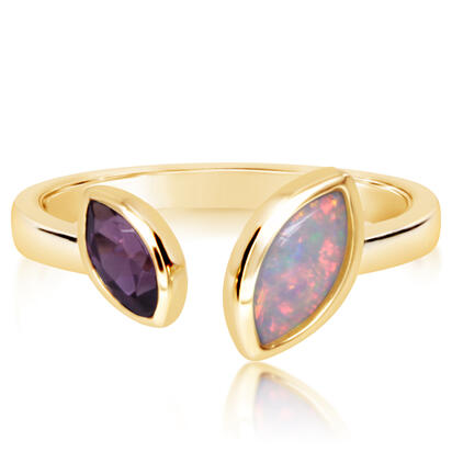 14K Yellow Gold Australian Opal/Purple Garnet Ring | RCO052N0GPXCI