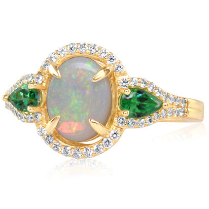 14K Yellow Gold Australian Opal/Tsavorite/Diamond Ring