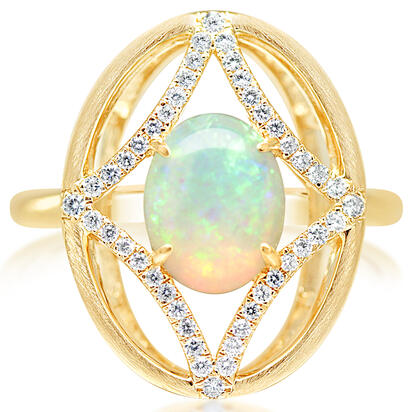 14K Yellow Gold Australian Opal/Diamond Ring | RCO054N12CI
