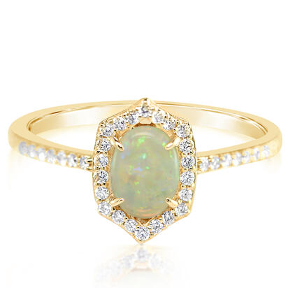 14K Yellow Gold Australian Opal/Diamond Ring | RCO055N12CI