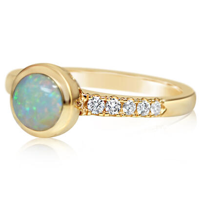 14K Yellow Gold Australian Opal/Diamond Ring | RCO056N12CI