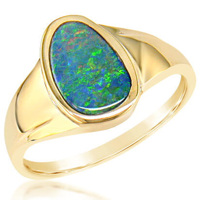 14K Yellow Gold Australian Opal Doublet Ring | RD001-9I