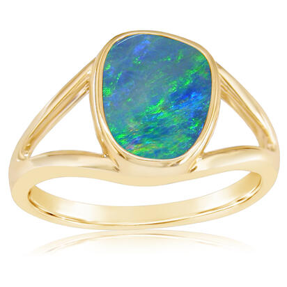14K Yellow Gold Australian Opal Doublet Ring | RD002-7I