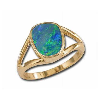 14K Yellow Gold Australian Opal Doublet Ring | RD002-8I