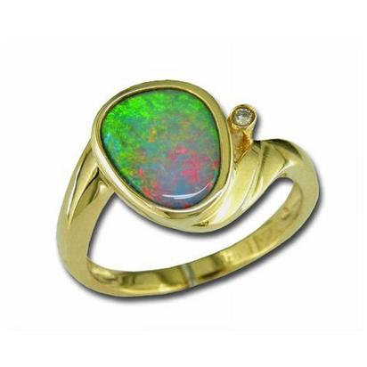 14K Yellow Gold Boulder Opal/Diamond Ring | RB38I