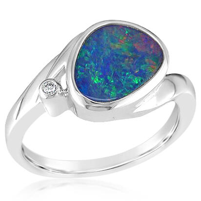 14K White Gold Australian Opal Doublet/Diamond Ring | RDBTW38-9I