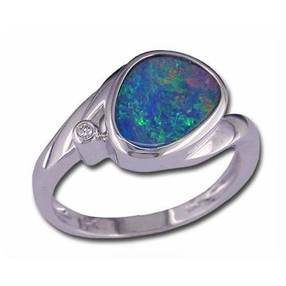 14K White Gold Australian Opal Doublet/Diamond Ring