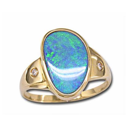 14K Yellow Gold Australian Opal Doublet/Diamond Ring | RDD001-10I