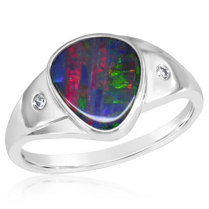 14K White Gold Australian Opal Doublet/Diamond Ring | RDDW001-13I