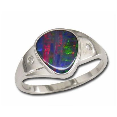 14K White Gold Australian Opal Doublet/Diamond Ring | RDDW001-12I