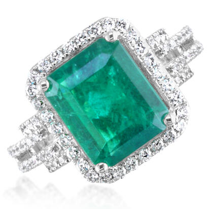18K White Gold Zambian Emerald/Diamond Ring | RE00100207QI