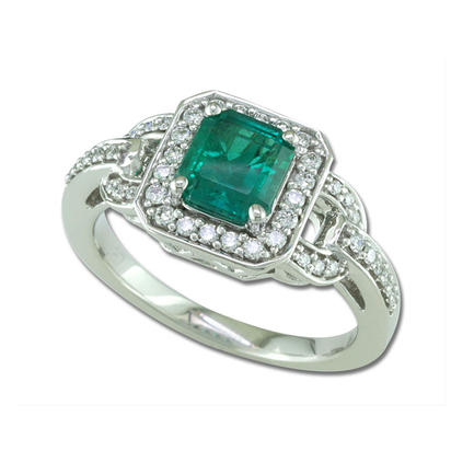 18K White Gold Brazilian Emerald/Diamond Ring | RE0100089QI