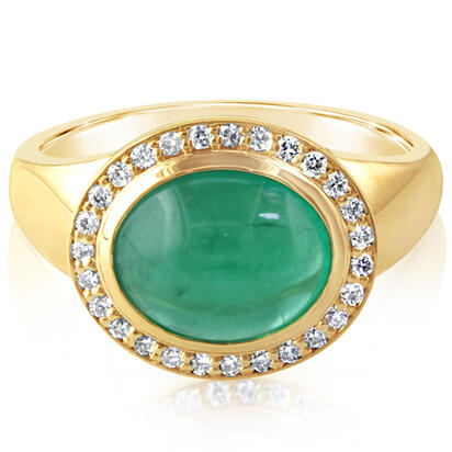 18K Yellow Gold Brazilian Emerald/Diamond Ring | RE0CB720350E