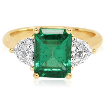 18K Yellow Gold Brazilian Emerald/Diamond Ring