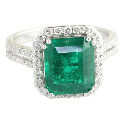 18K White Gold Brazilian Emerald/Diamond Ring | RE0OC0500372QI