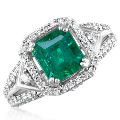 18K White Gold Brazilian Emerald/Diamond Ring