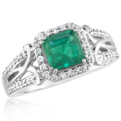 18K White Gold Brazilian Emerald/Diamond Ring | RE0OC0605137QI